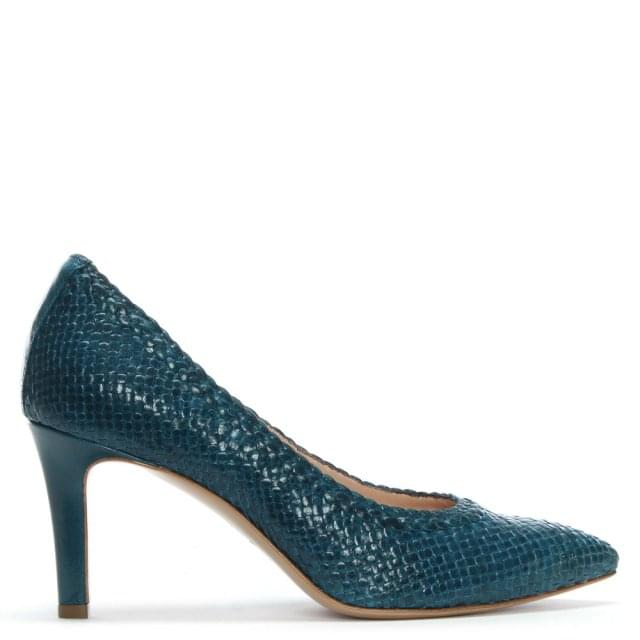 Punjab Blue Leather Woven Court Shoes