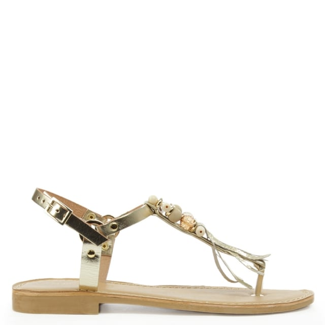 Puno Gold Leather Embellished T Bar Sandal