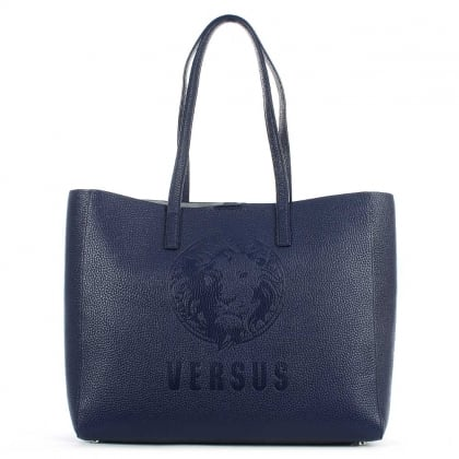 Pura Navy Leather Shopper Bag