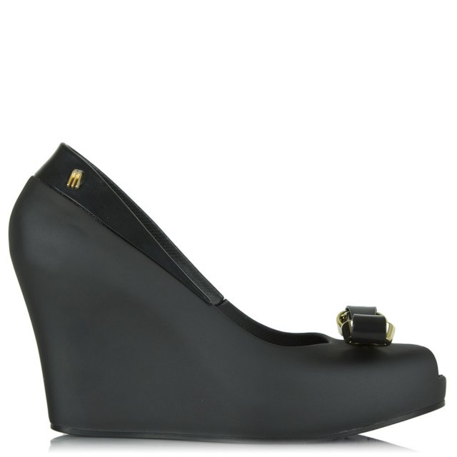 Queen Black Peep Toe Bow Wedge