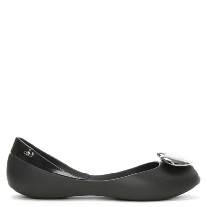 Queen Heart Black Ballerina Flat