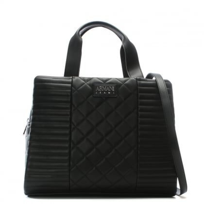 Quilted Black Eco Leather Shopper Bag