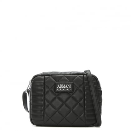 Quilted Black Eco Leather Shoulder Bag