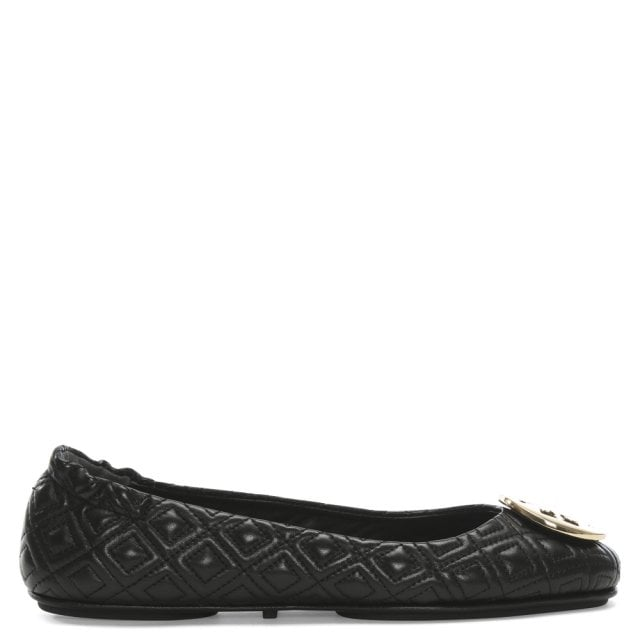 096f1021e Tory Burch Quilted Minnie Black Leather Ballet Flats
