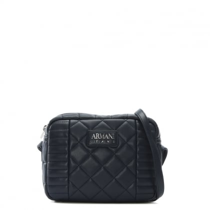 Quilted Navy Eco Leather Shoulder Bag