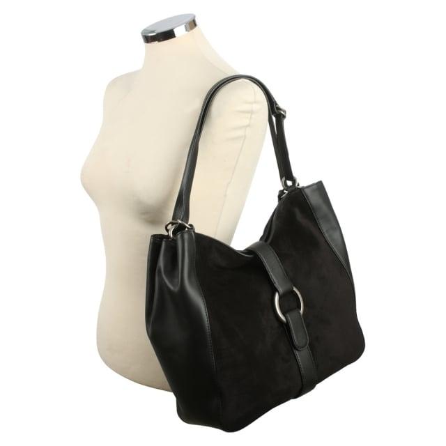 3c53f4fbfbce Michael Kors Quincy Large Black Leather   Suede Shoulder Tote Bag