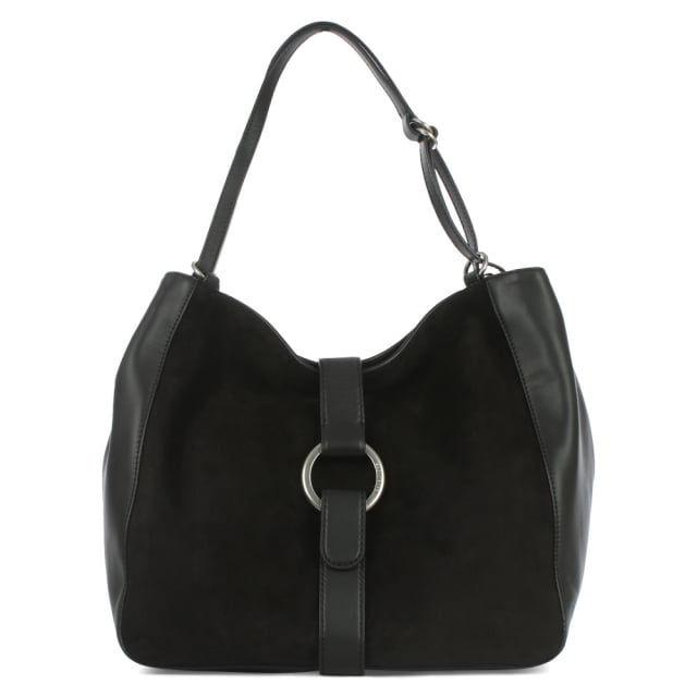 Quincy Large Black Leather & Suede Shoulder Tote Bag