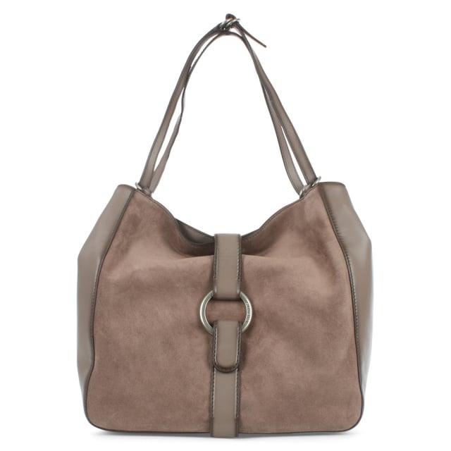 Quincy Large Cinder Leather & Suede Shoulder Tote Bag