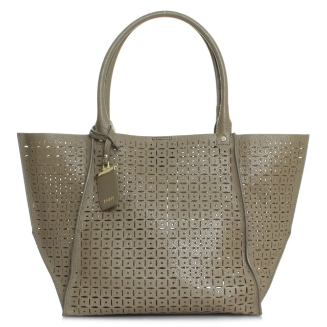 Rachel Khaki Leather Laser Cut Shopper