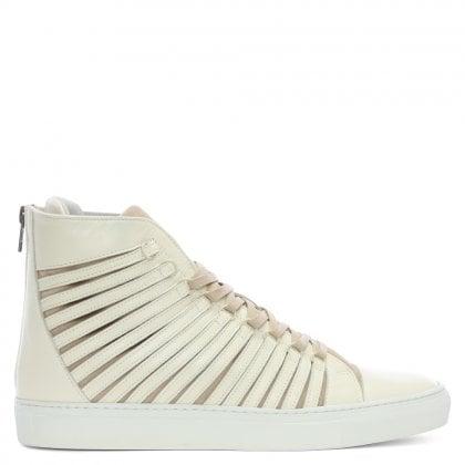 Radial Beige Leather Sliced High Top Trainers