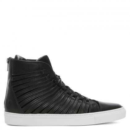 Radial Black Leather Sliced High Top Trainers