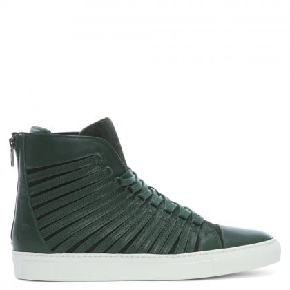 Radial Green Leather Sliced High Top Trainers