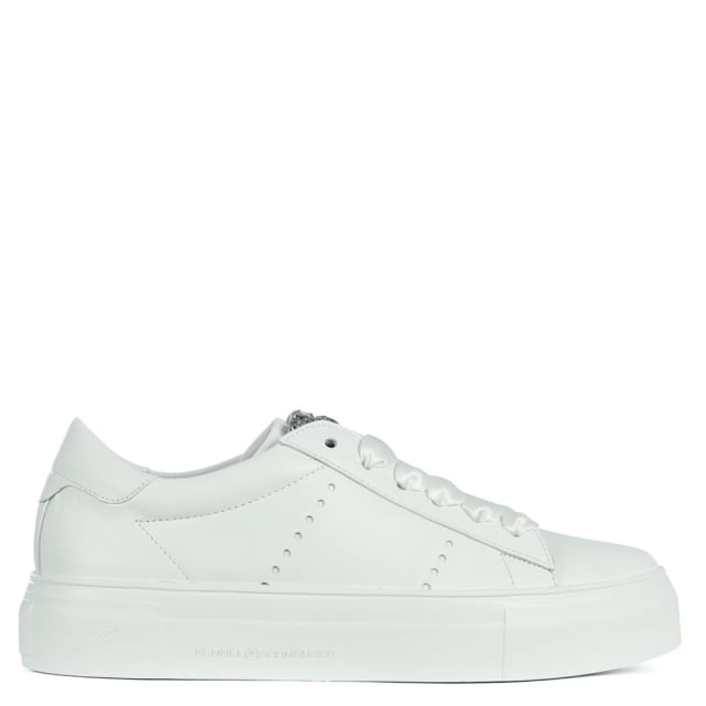 Radin White Leather Embellished Trainers