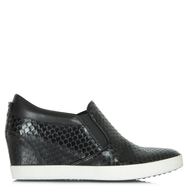 Ragdoll Black Leather Reptile Wedge Trainer