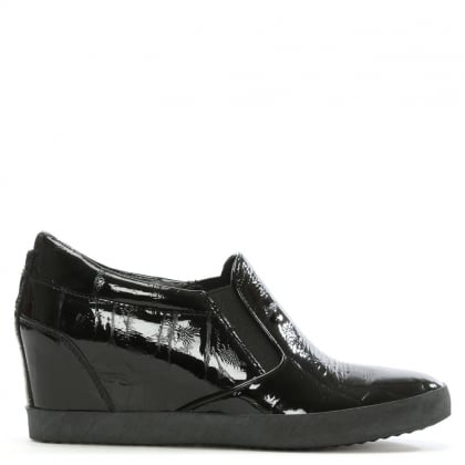 Ragdoll Black Patent Leather Wedge Trainer