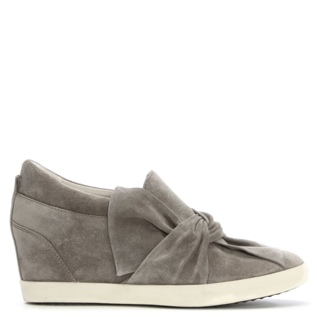 Ragdoll Bow Grey Suede Wedge Pump
