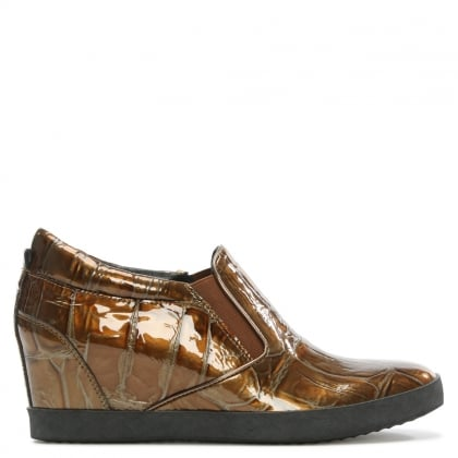 Ragdoll Gold Patent Leather Wedge Trainer