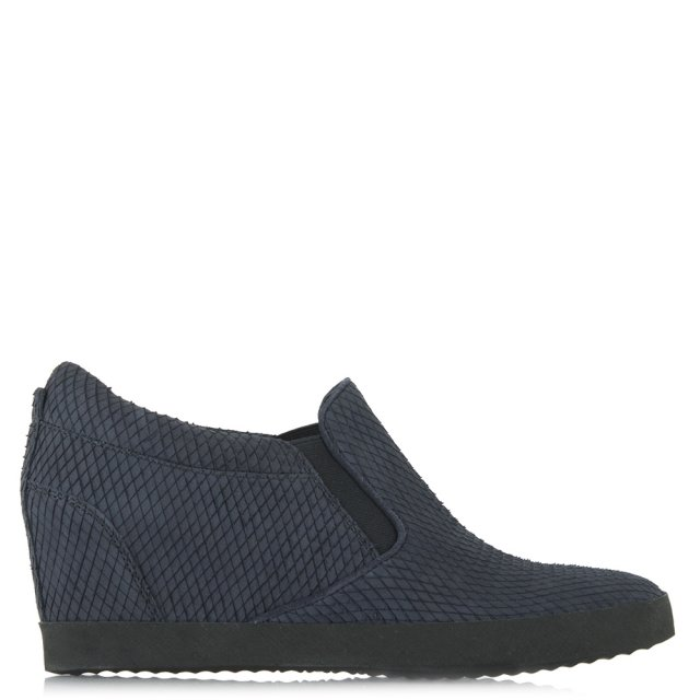 Ragdoll Navy Leather Reptile Wedge Trainer