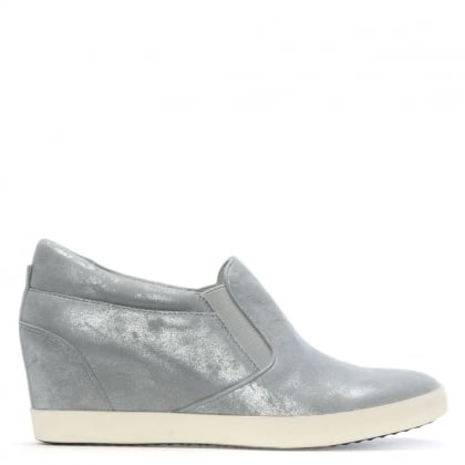 Ragdoll Silver Metallic Leather Wedge Trainers