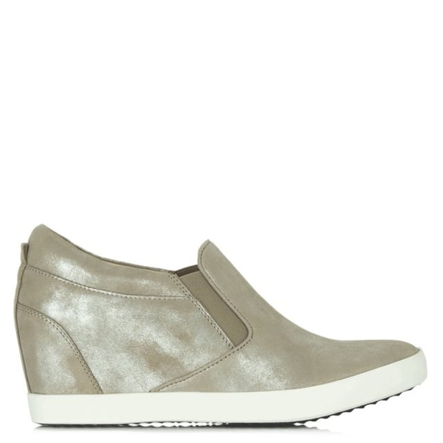 Ragdoll Taupe Metallic Leather Wedge Trainer