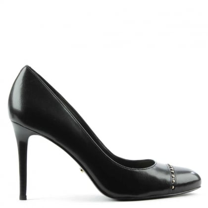 Raimy Black Leather Studded Court Shoe