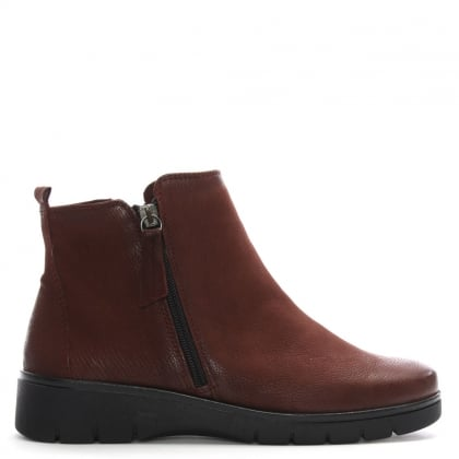 Rainford Burgundy Suede Double Zip Ankle Boots