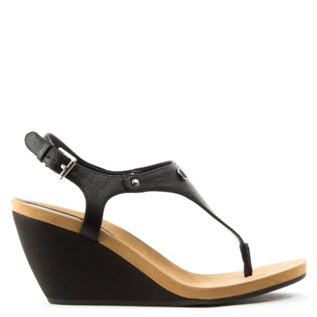 677eaba5df9a45 Lauren by Ralph Lauren Ralla Black Toe Post Wedge Sandal