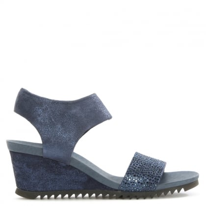 Ralles Navy Suede Jewelled Front Sandals