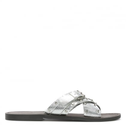 Rasa Silver Reptile Leather Studded Cross Strap Sliders