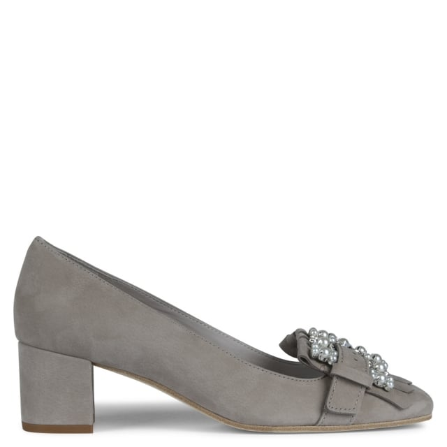 Raskin Grey Suede Embellished Block Heel Pumps