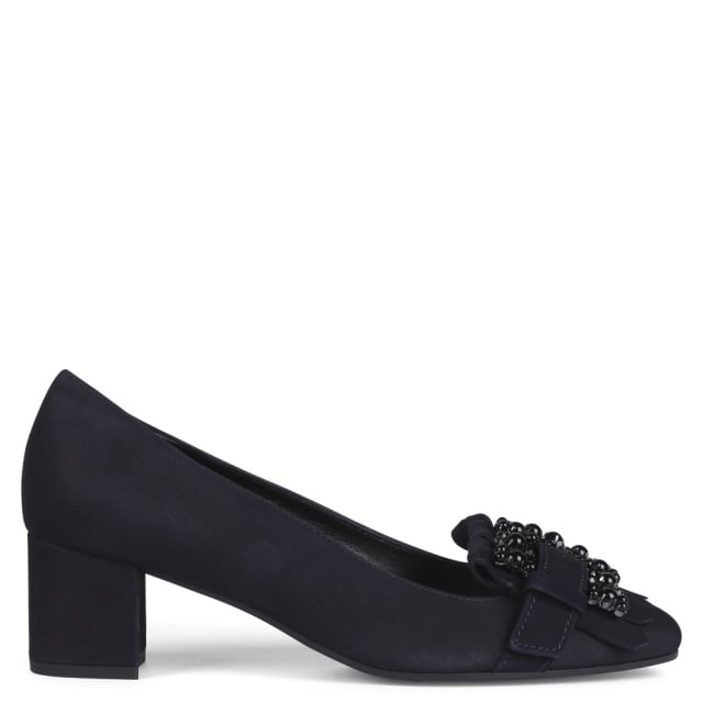 Kennel & Schmenger Raskin Navy Suede Embellished Block Heel Pumps