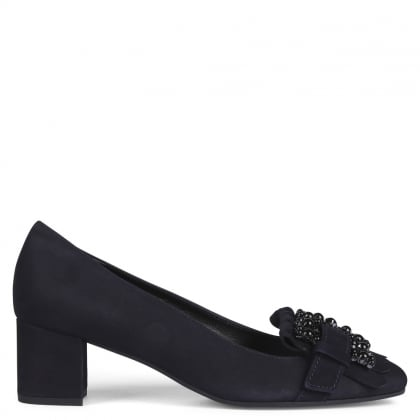 Raskin Navy Suede Embellished Block Heel Pumps
