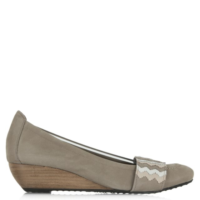 Rasoi Taupe Suede Patterned Low Wedge