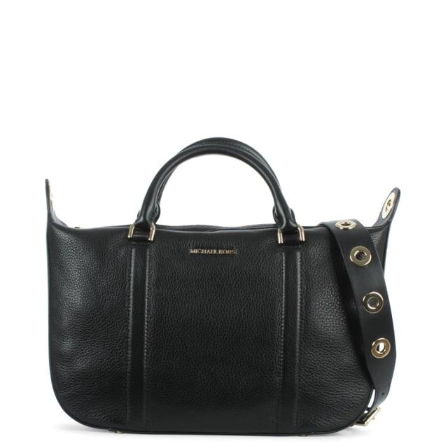 ea8e800eabf8 Michael Kors Raven Large Black Leather Satchel Bag