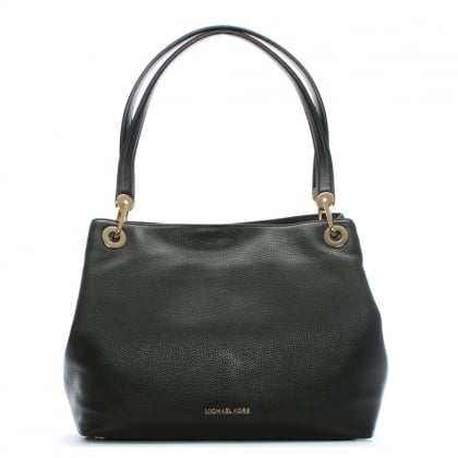Raven Large Black Leather Shoulder Bag