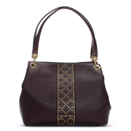 Raven Large Damson Leather Studded Shoulder Bag