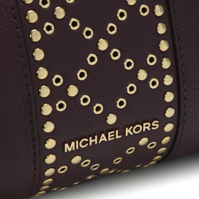 cb8ea1f5b44 Michael Kors Raven Large Damson Leather Studded Shoulder Bag
