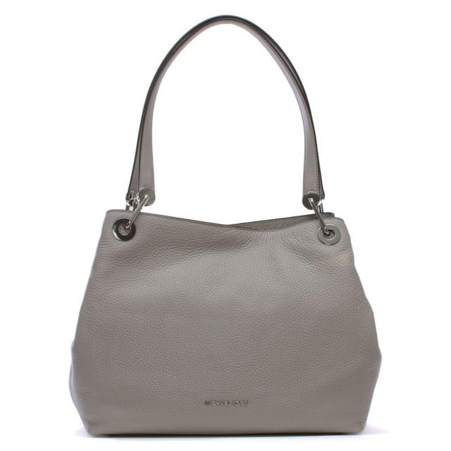 281e4990b4a19 Michael Kors Raven Large Pearl Grey Leather Shoulder Bag