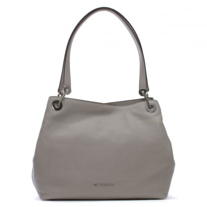 Raven Large Pearl Grey Leather Shoulder Bag