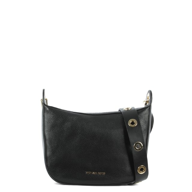 a2a7ee06a3ef Michael Kors Raven Medium Black Leather Messenger Bag
