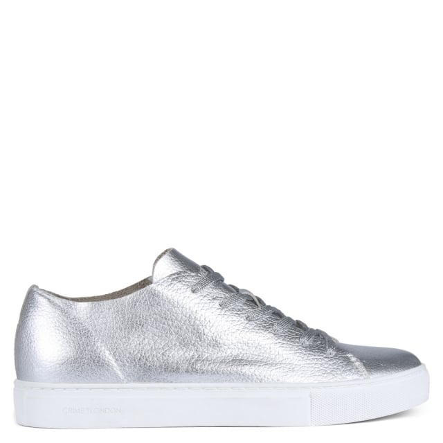 Crime London Raw Lo Silver Metallic Leather Lace Up Trainer 5669ae31205