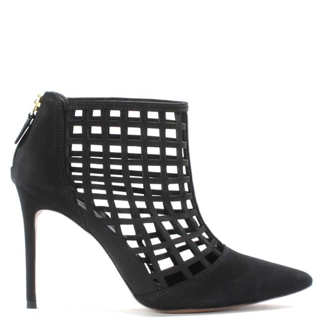 Rayne Black Leather Caged Ankle Boot