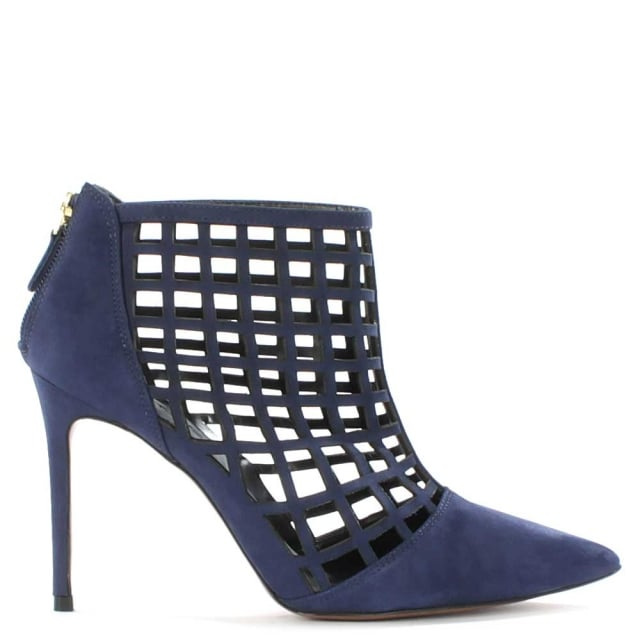 Rayne Navy Leather Caged Ankle Boot