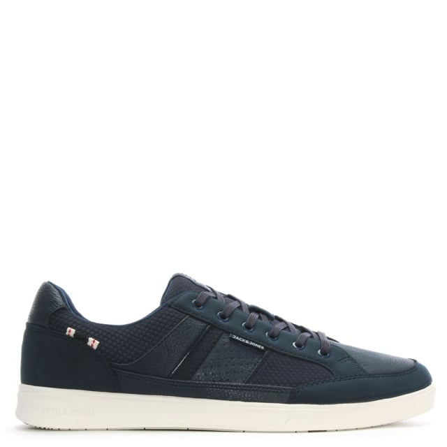 Rayne Navy Leather Lace Up Trainers