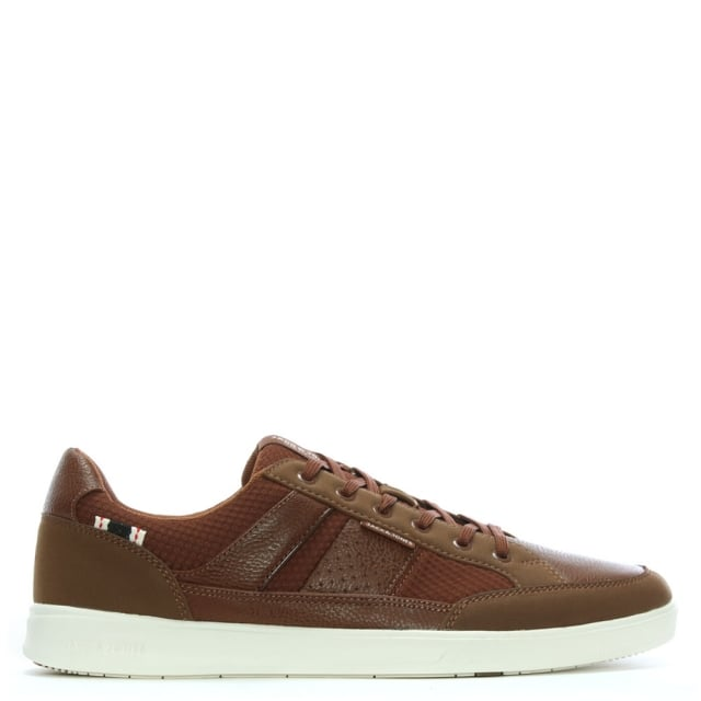 Jack & Jones Rayne Tan Leather Lace Up Trainers