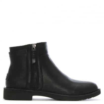 Rea Black Leather Ankle Boots