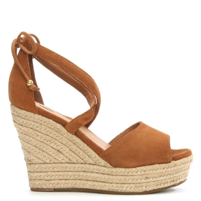Reagan Chestnut Suede Ankle Tie Wedge Sandal