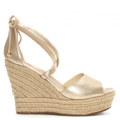 Reagan Gold Leather Ankle Tie Wedge Sandal