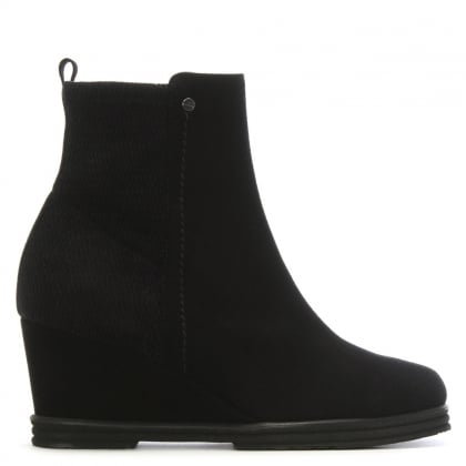 Reality Black Suede Wedge Ankle Boots