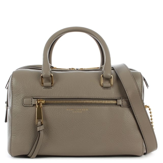 Recruit Bauletto Taupe Leather Bowler Bag